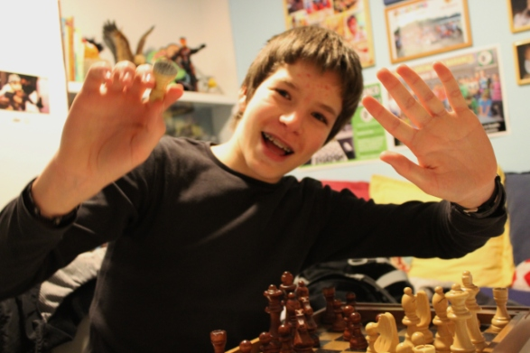 There are other, better photos of Oscar posing with his chessboard, but this one's a lot less boring.